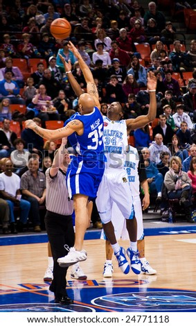 HALIFAX, NOVA SCOTIA - February 8: The Halifax Rainmen defeat the Vermont Frost Heaves 108-97 in Premier Basketball League action. on February 8, 2009. - stock photo