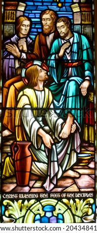 HALIFAX NOVA SCOTIA JUNE 5: Stained glass window St. Paul's Church is an evangelical Anglican church in Halifax. Nova Scotia, Canada, June 5, 2014 - stock photo