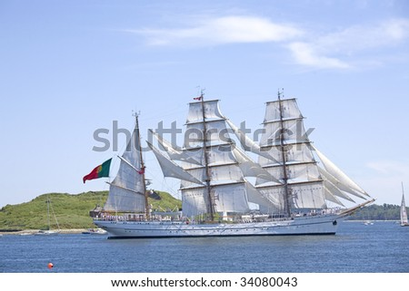 HALIFAX, NOVA SCOTIA - JUNE 20: The Sagres, a  Portugese barque, sails past George's island in Halifax Harbour during the sailpast of the Nova Scotia Tall Ships Festival 2009 on June 20, 2009 in Halifax, Nova Scotia.