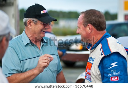 HALIFAX, NS - AUGUST 21: NASCAR veteran driver Ken Schrader (R) meets fans in the weekly series at Scotia Speedworld, August 21, 2009 in Halifax.