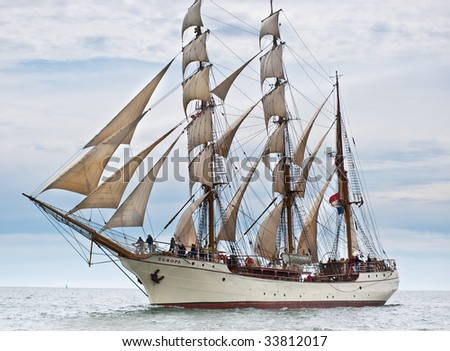 HALIFAX, NS - JULY 16: Sailing ships arrive to kick off Tall Ships Nova Scotia 2009 in Halifax, Nova Scotia, July 16, 2009. Pictured here is Europa, from The Netherlands. - stock photo