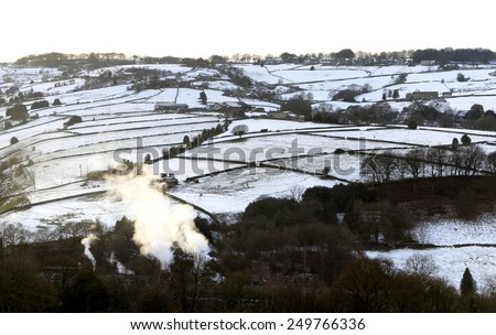 HALIFAX, UK - FEBRUARY 2, 2015: Snowfields around Stainland, West Yorkshire, UK. West Yorkshire is experiencing its second spell of wintery snowfalls over the uplands around Halifax - stock photo