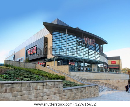 HALIFAX, UK - OCTOBER 14, 2015: Broad Street Plaza shopping development in Halifax, Yorkshire, UK. Halifax is a Minster town and well known for the manufacture of wool from the 15th century  - stock photo