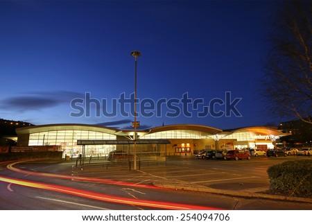 HALIFAX, WEST YORKSHIRE - FEBRUARY 18, 2015: The exterior of a Sainsbury's supermarket Halifax, West Yorkshire, England, UK. Sainsbury's is one of the UK's leading supermarkets. - stock photo