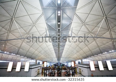 hall at airport in Hong Kong - stock photo