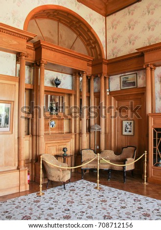 Hall in the wooden interior. Yalta, Crimea - 11 July, 2017. The