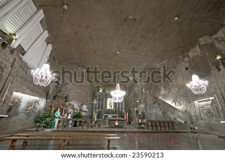 Hall in Wieliczka salt mine. Poland - stock photo