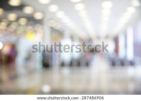 Hall of airport out of focus - defocused background - stock photo