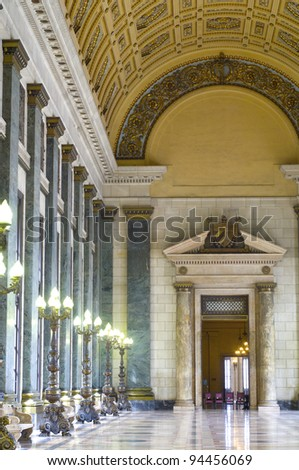 hall of missing steps in the Cuban national capitol, Havana, Cuba - stock photo