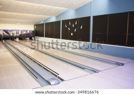 hall of the tracks for playing bowling - stock photo