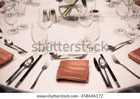 hall or other function facility set for fine dining, table in wedding day - stock photo
