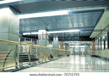 Hall with glass doors in metro - stock photo