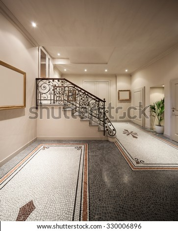 Hall with mosaic floor in luxury mansion , staircase - stock photo