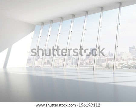 Hall with windows - stock photo