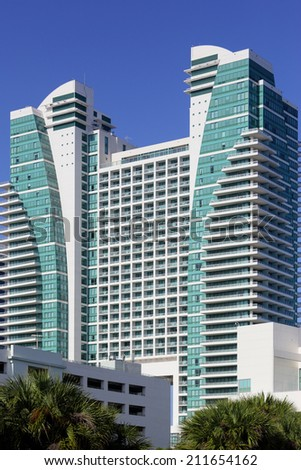 HALLANDALE - AUGUST 10: Westin Diplomat in Hollywood FL. THe Westin Diplomat is a luxury resort and spa located in Hollywood Beach FL August 10, 2014 in Hollywood FL USA - stock photo