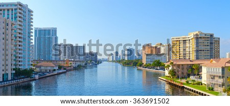 Hallandale Beach near Miami  Florida panoramic skyline on a beautiful summer day - stock photo