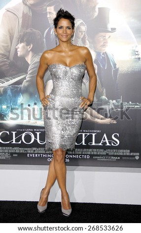 Halle Berry at the Los Angeles premiere of 'Cloud Atlas' held at the Grauman's Chinese Theatre in Hollywood on October 24, 2012.  - stock photo