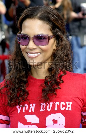 "Halle Berry attends the Los Angeles Premiere of ""Robots"" held at the Mann Village Theatre in Westwood, California on March 6, 2005.  - stock photo"