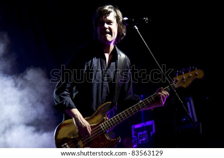 HALLE, GERMANY - AUGUST 26: bassist of the Michy Reinke Band performs at the 75th Laternenfest on August 26, 2011 in Halle, Germany.