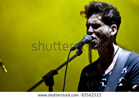 HALLE, GERMANY - AUGUST 27: Guitarist Eugen Flittner of the Band The Black Pony performs at the 75th Laternenfest on August 27, 2011 in Halle, Germany.