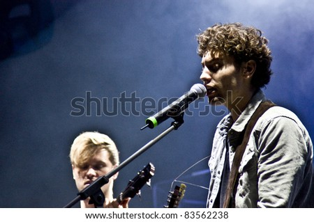 HALLE, GERMANY - AUGUST 27: Singer Trevor Brown and Bassist Kevin Dollerschell of the Band The Black Pony perform at the 75th Laternenfest on August 27, 2011 in Halle, Germany.