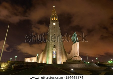 Hallgrimskirkja church Reykjavik Iceland taken at night with Lief Erickson statue - stock photo