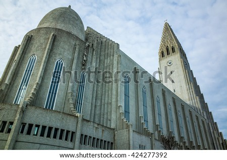 Hallgrimskirkja Temple landmark of reykjavik,Iceland - stock photo