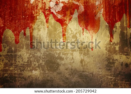 Halloween background. Blood on stucco wall - stock photo