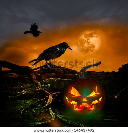 Halloween Background For Text Party Message On Flyer Or Cartoon Holiday Invitation ~ Scary October Twilight Night With Full Moon Spooky Black Raven Crow Spider Web Fiery Pumpkin Jack O Lantern - stock photo
