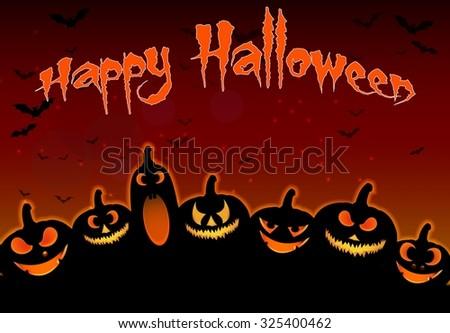 Halloween background Pumpkins Face  - stock photo