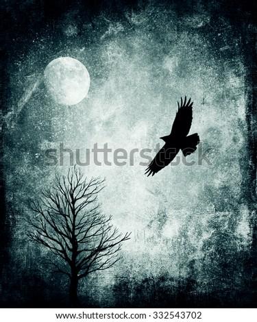 Halloween Background, Raven, Moon And Tree - stock photo