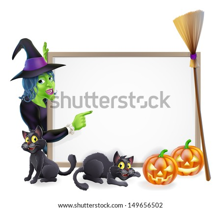Halloween background sign frame with witch, Halloween pumpkin, witch's black cats and broomstick, copyspace for your text - stock photo