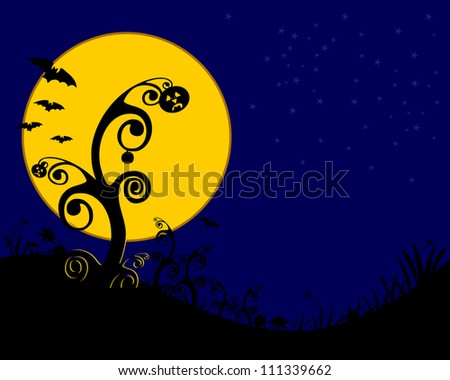 halloween background spooky trees and bats - stock photo
