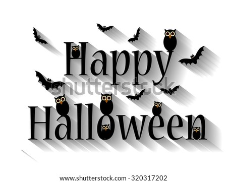 Halloween background white with owls and bats long shadow - stock photo