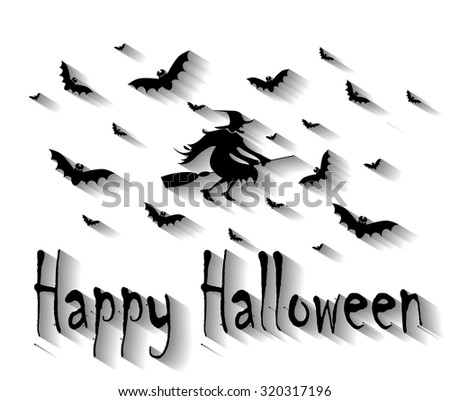Halloween background white with witch, owls and bats long shadow - stock photo