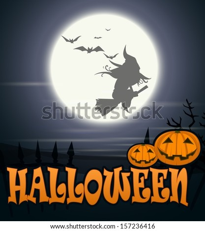 Halloween background .Witch flying over the moon