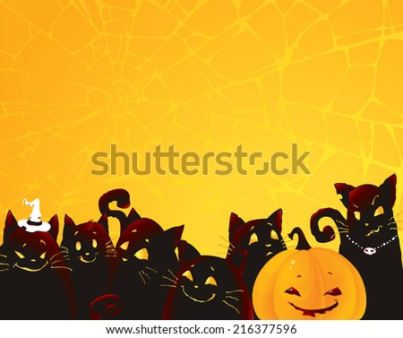 Halloween background with black cats and pumpkin. Funny illustration with emotional black cats and scary pumpkin. Seasonal  illustration with copy space.  - stock photo