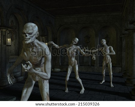 Halloween Background with creature - stock photo
