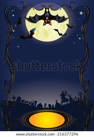 Halloween background with funny bat and graveyard - stock photo