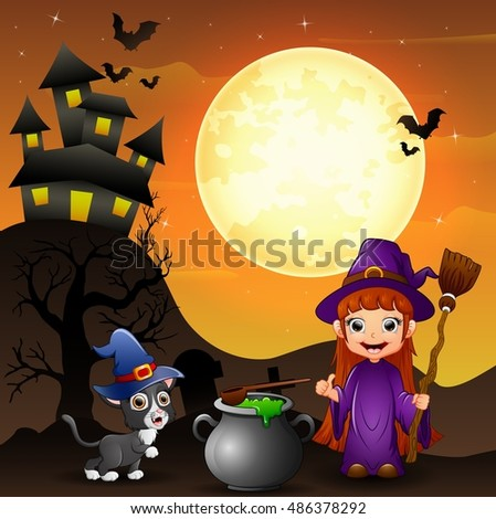 Halloween background with girl witch holding broomstick and cauldron and kitten witch