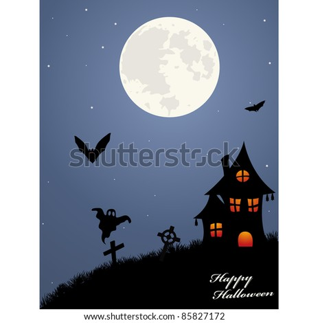 Halloween background with haunted house and graveyard.
