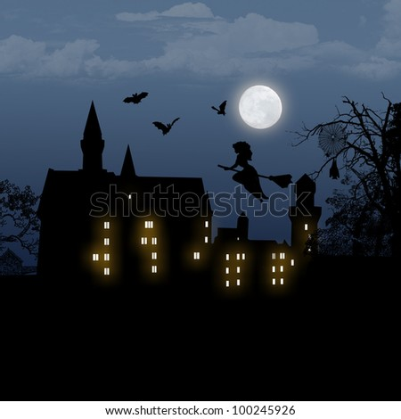 Halloween background with house, bats and full moon