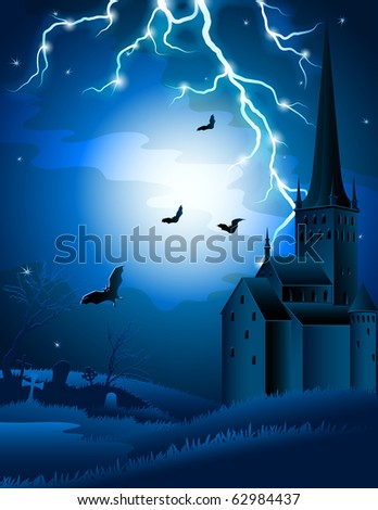 halloween background with lightning and castle