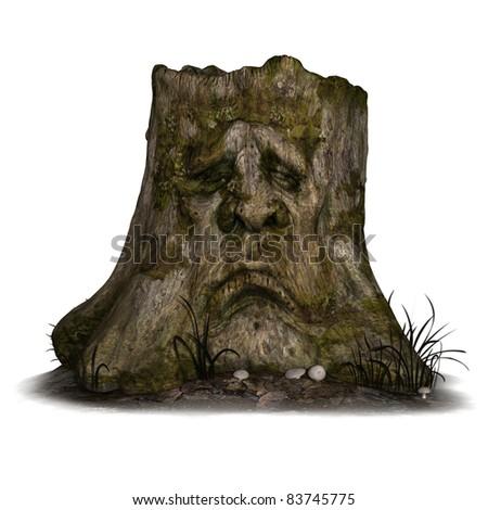 Halloween Background with old tree stump - stock photo