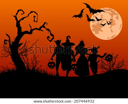 Halloween background with silhouettes of children trick or treating in Halloween costume. Raster version.   - stock photo