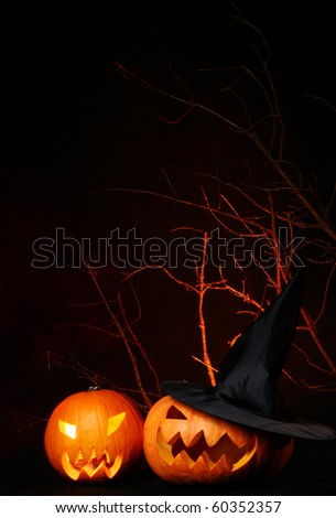 halloween background with two pumpkin - stock photo