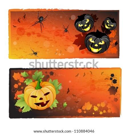 Halloween banners set - stock photo