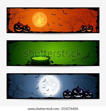 Halloween banners with pumpkins and witches pot, illustration. - stock photo