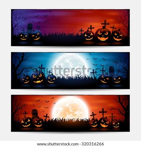 Halloween banners with pumpkins on graveyard, illustration. - stock photo