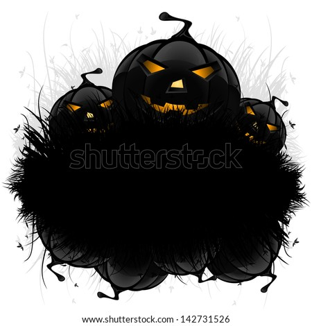 Halloween black ad background with grass and pumpkin